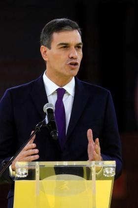 El presidente del Gobierno, Pedro Sánchez, durante su intervención un acto en Madrid.