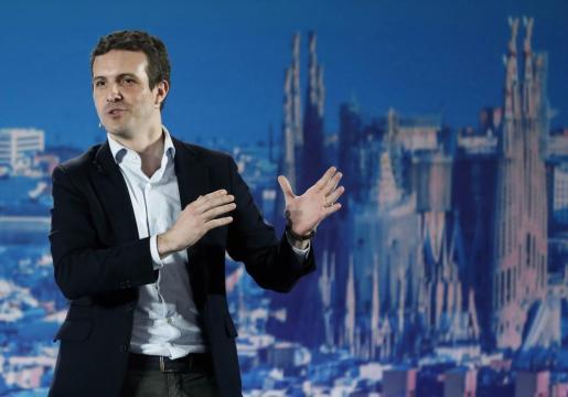 El presidente del Partido Popular, Pablo Casado, durante su intervención en el acto de presentación en Barcelona de los candidatos del PPC a las alcaldías.