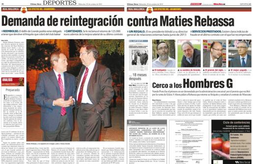 Los administradores concursales están cerca de marcharse, pero antes quieren cerrar el llamado 'caso Rebassa' del cual este periódico avanzó los detalles el 1 de abril de 2009 (reproducción inferior) y 20 de octubre de 2010 (parte superior).