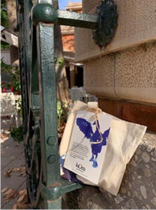 Una de las bolsas de tela que hay escondidas en el centro de Palma.