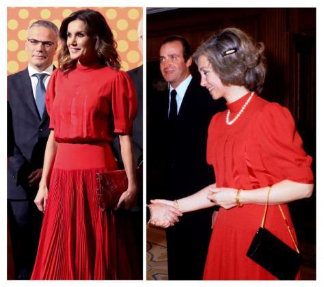 La reina Letizia ha presidido la entrega de los V Premios Nacionales de la Industria de la Moda luciendo un vestido rojo que la reina Sofía.