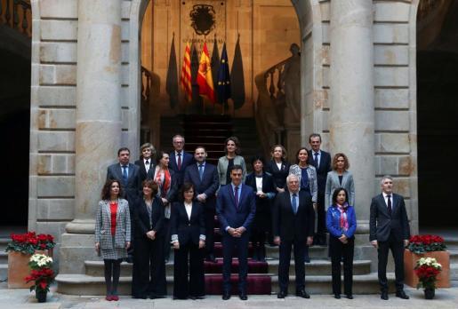 Foto de los miembros del Gobierno, antes del Consejo de Ministros.