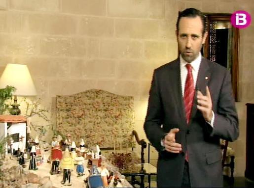 Un belén de ambientación payesa sirvió de marco al discurso navideño del president Bauzá.