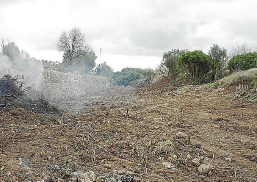 En el lecho del torrente se aprecian las marcas de la excavadora.