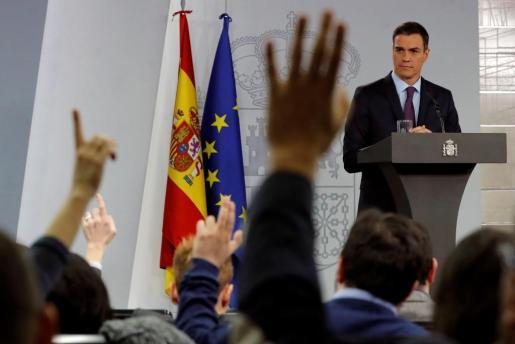 El presidente del Gobierno, Pedro Sánchez, durante su comparecencia antes los medios en el Palacio de La Moncloa.