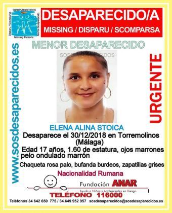Imagen del cartel de búsqueda de la menor desaparecida en Torremolinos.