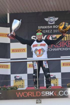 Javier Orellana, en el podio del Circuito de Jerez.