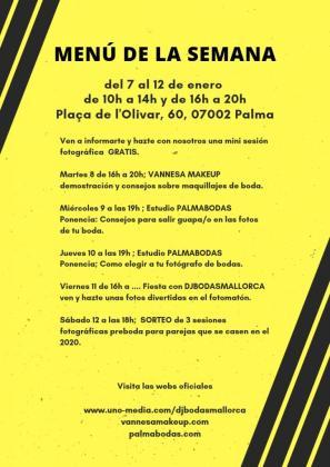 Cartel del Quiosco PalmaActiva que anuncia las actividades sobre la organización de bodas.