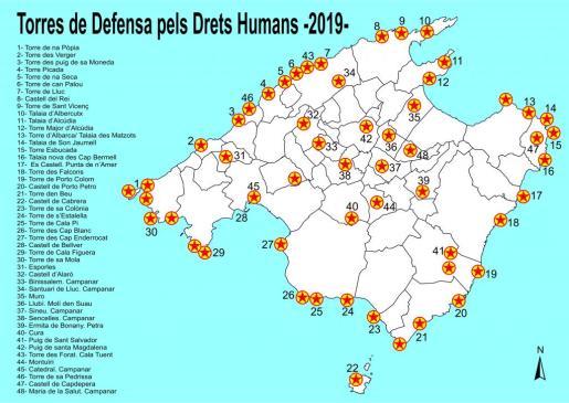 Mapa de las torres de Mallorca que participan en el encendido.