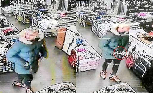A la izquierda, el atracador entrando al comercio. A la derecha, sacando un cuchillo del bolsillo.