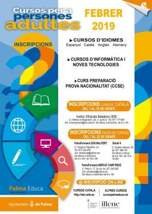 Cartel de los cursos de adultos gestionados por el Ayuntamiento de Palma.