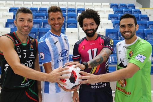 Carles Bivià (Iberojet Palma), Guillem Vallori (Atlético Baleares), Ricardo Perini (Urbia Palma) y Tomaz Braga (Palma Futsal).