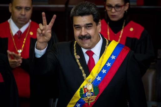 El presidente de Venezuela, Nicolás Maduro, tras jurar como presidente para un segundo período de gobierno.