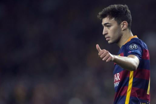 Munir El Haddadi, durante un encuentro de la Liga de Campeones con el Barcelona.