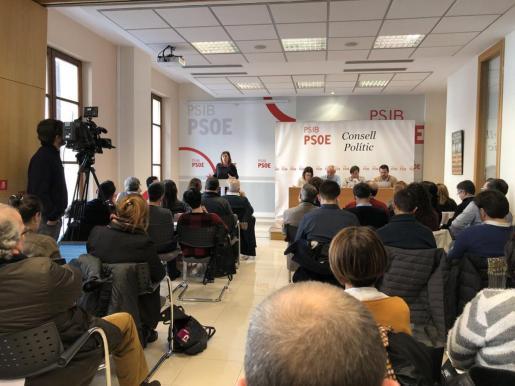 Francina Armengol, durante su intervención en el Consejo político del PSIB-PSOE que se celebra este sábado.