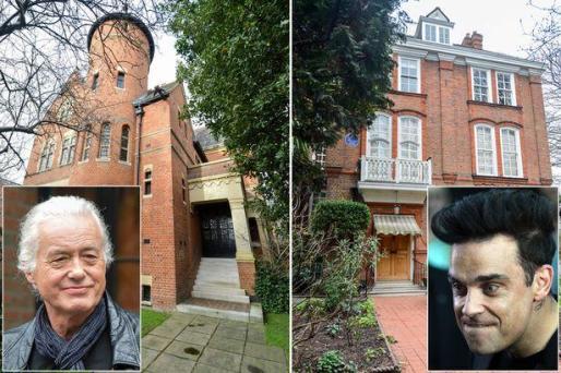 Jimmy Page y Robbie Williams, con las imágenes de sus respectivas casas.