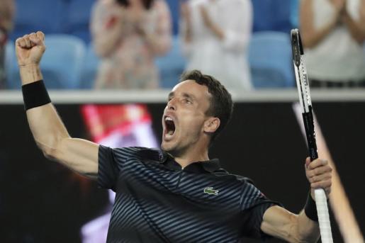 Roberto Bautista celebra su victoria ante el croata Marin Cilic.