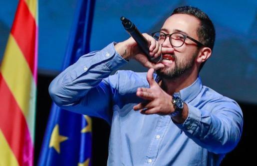El rapero Valtònyc, en un acto de presentación del Consell de la República en Bruselas.