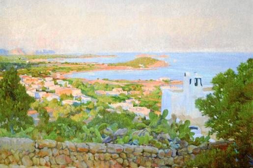 El conocidísimo cuadro de Rigoberto Soler 'Vista de Santa Eulària'.