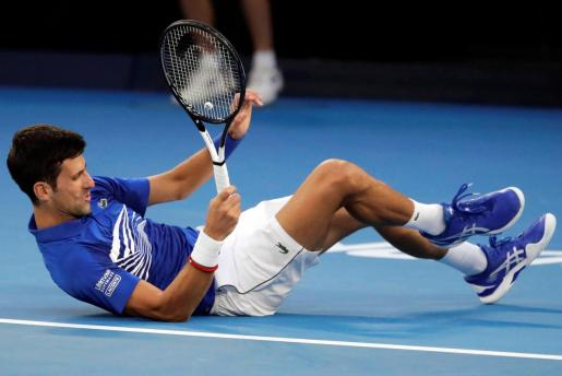 Novak Djokovic, en una imagen de su partido de semifinales ante Pouille.