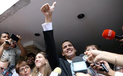Juan Guaidó, con su mujer y su hija, en una reciente imagen.