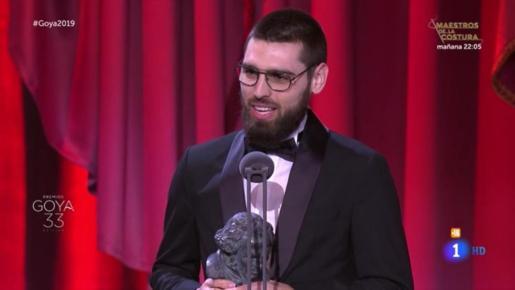 Carles Bover ha recogido el Goya a el Goya a Mejor Cortometraje Documental por 'Gaza'.