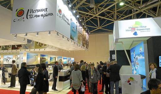 Estand de Turespaña y de Baleares en las últimas ferias turísticas de la MITT de Moscú, que se celebra en marzo.