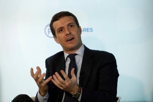 El líder del PP, Pablo Casado, este miércoles durante una entrevista.
