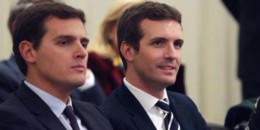 Pablo Casado y Albert Rivera, lideres de PP y Ciudadanos.