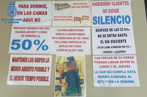 En la vivienda había numerosos carteles que detallaban las condiciones laborales mediante órdenes imperativas.