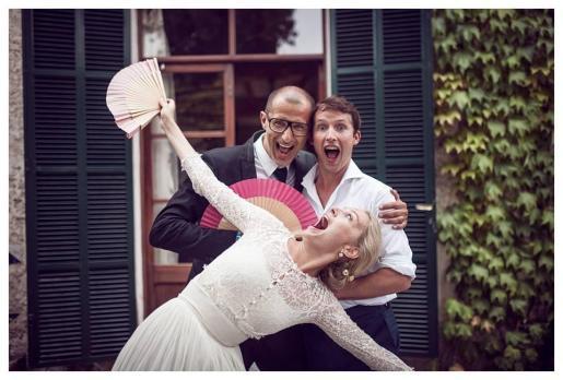 Sofía Wllesley, con un vestido de Cortana, el día de su boda con James Blunt en Campanet.