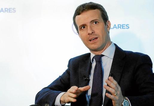 El presidente del PP, Pablo Casado, en una entrevista con Efe.