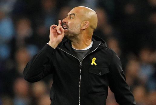 Pep Guardiola durante un partido con el Manchester City.