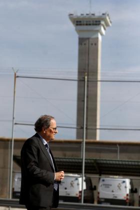 El presidente de la Generalitat, Quim Torra, a la salida del centro penitenciario de Soto del Real.