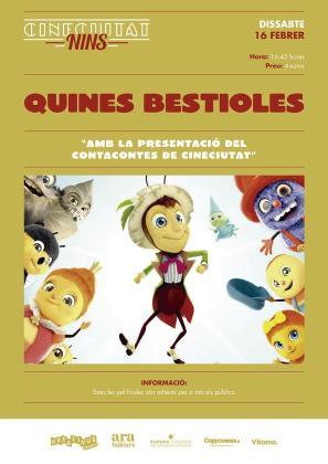 El ciclo CineCiutat Nins regresa con la proyección de 'Quines bestioles'.