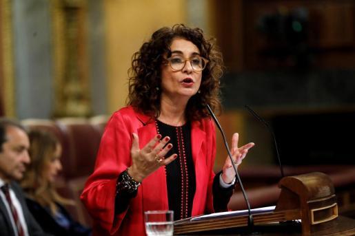La ministra de Hacienda, María Jesús Montero, interviene en el debate de totalidad de los presupuestos en el pleno del Congreso.