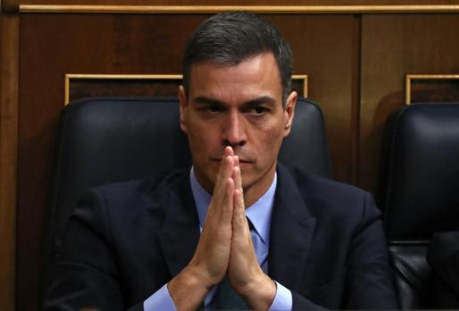 El presidente del Gobierno, Pedro Sánchez, en la votación de las enmiendas a los presupuestos.