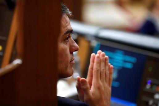 -FOTODELDIA- GRAF6425. MADRID, 13/02/2019.- El presidente del Gobierno, Pedro Sánchez, durante la segunda jornada del debate de las enmiendas a la totalidad del proyecto de Presupuestos Generales del Estado, en el que intervienen los grupos parlamentarios previamente a la votación, celebrada este miércoles en el Congreso. EFE/Chema Moya Segunda jornada debate de totalidad de los Presupuestos Generales del Estado de 2019