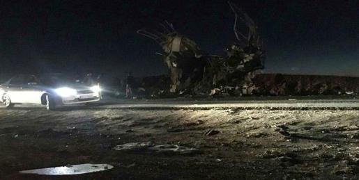 Lugar en el que se ha producido un atentado suicida contra un autobús en Khash (Irán), este miércoles. Al menos 20 personas murieron y otras 20 resultaron heridas.