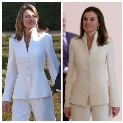 El mismo traje, el día de la pedida de mano y este jueves en su viaje a Marruecos.