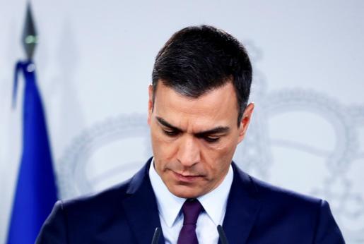 Pedro Sánchez, durante la comparecencia pública en la que ha anunciado la convocatoria de elecciones.
