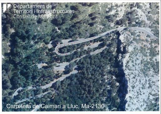 Simulación del desvío en el trazado de la carretera entre Caimari y Lluc.
