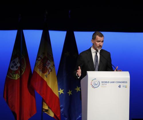 El rey Felipe, durante su intervención en la sesión de clausura del XXVI Congreso Mundial de Derecho.