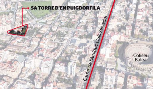 Sa Torre den Puigdorfila estaba en la esquina donde hoy confluyen las calles Castellarnau y Son Ferragut, en la barriada de la Plaça de Toros.