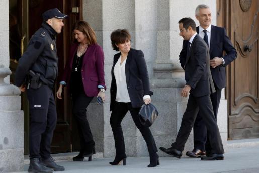 La exvicepresidenta del Gobierno, a su llegada al Tribunal Supremo.