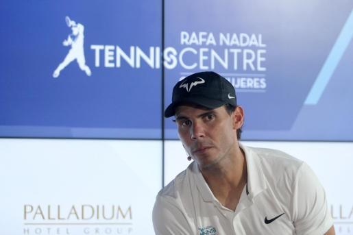 El tenista Rafael Nadal durante una conferencia de prensa previa a la inauguración de su primer centro deportivo fuera de España, el Rafa Nadal Tennis Centre, emplazado en un complejo hotelero en la parte continental de Isla Mujeres.