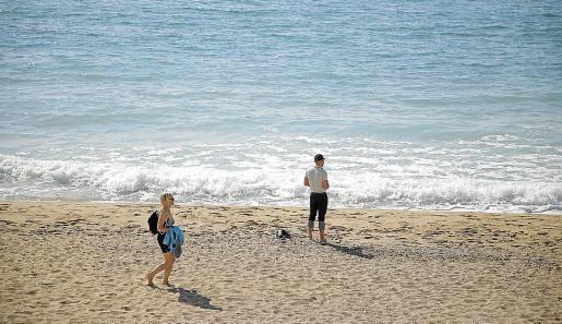 Imagen tomada este jueves por la mañana en la playa de Can Pere Antoni.