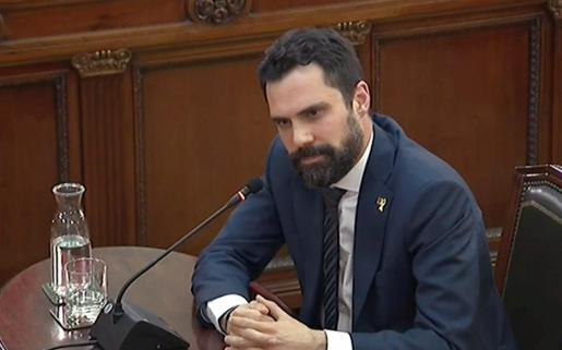 El presidente del Parlament de Cataluña, Roger Torrent, durante su declaración como testigo en el juicio del 'procés'.