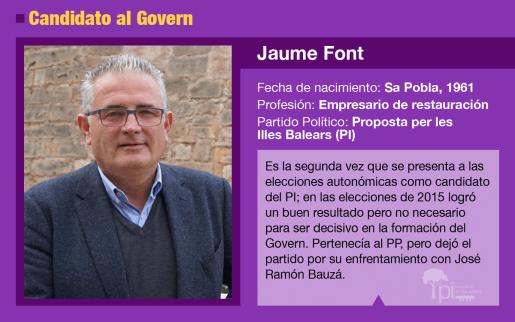 Jaume Font es el candidata del PI al Govern en las elecciones de mayo de 2019.