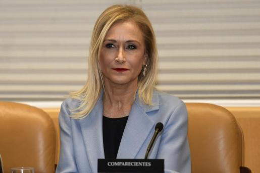 La expresidenta regional Cristina Cifuentes momentos antes de su comparecencia este miércoles en la comisión de investigación de universidades de la Asamblea de Madrid.